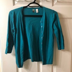 Turquoise crop cardigan, junior's size medium.